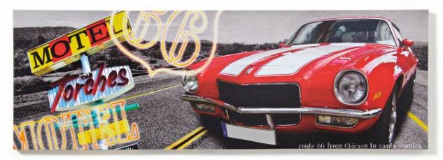 Wandbild Route 66 Las Vegas Auto Chicago Leinwandbild 30x90cm