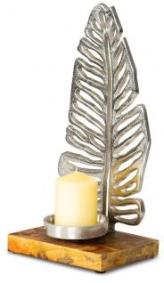 Kerzenständer 35cm Kerzenhalter Mango Holz Blatt Silber Tischdeko Kerzenleuchter
