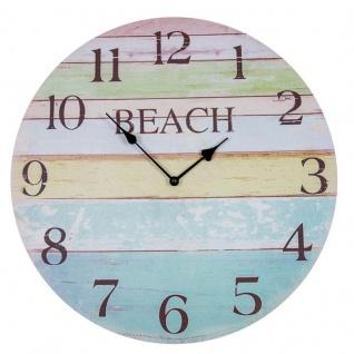 Wanduhr D45cm Beach Bunt Holz Uhr Maritim Wanddeko Strand Sommer Rainbow Deko
