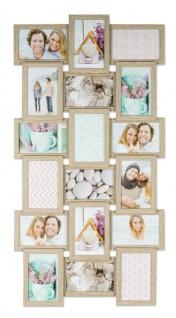 levandeo Bilderrahmen Collage 44x85cm 18 Fotos 10x15 Eiche gekälkt Holz MDF Glas - Vorschau 1