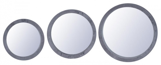 Spiegel 3er Set Rund Holz Grau gewischt Betonoptik Wandspiegel Deko