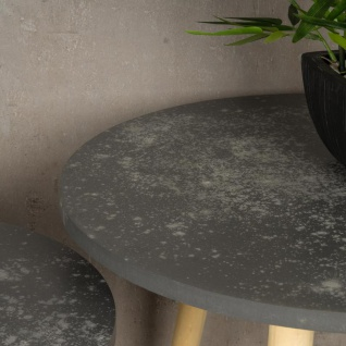 2er Set Beistelltisch Beton Optik Holz 2 Größen 40 und 48 cm rund Couchtisch - Vorschau 4