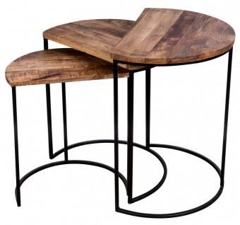 3er Set halbrunde Couchtische Mango Natur Eisen Schwarz Design Holz Beistelltisch