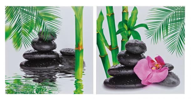 2er Set Wandbilder Orchideen Bambus Feng Shui Wellness Leinwand Bild