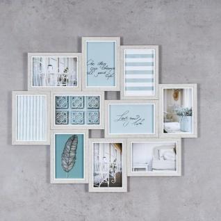 Bilderrahmen Collage 10 Fotos 59x50cm Grau Weiß 10x15 Holz Deko Fotorahmen - Vorschau 2