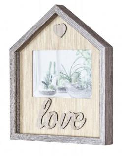 Bilderrahmen 22x26cm Haus MDF-Holz Braun Fotorahmen Bild 10x15cm Love Herz Deko