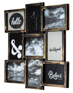 levandeo Bilderrahmen Collage 52x52cm 9 Fotos 13x18cm Kupfer Industrial Glas