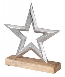 Stern 21x21cm Metall Mango Silber Braun Tischdeko Holz Metallstern Dekoration