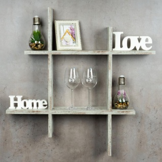 levandeo Hashtag Regal 75x75cm Wandregal Holz Shabby Chic Bücherregal Deko 2