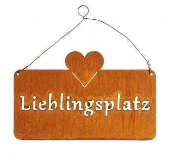 Schild Lieblingsplatz 25x16cm Herz Garten-Deko Türschild Edelrost Wandbild