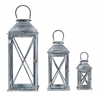 3er Set Laterne 70cm Hoch Grau Weiß Glas Holz Windlicht Shabby Chic Vintage - Vorschau 1