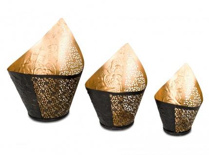 3er Set Teelichthalter 3 Größen Windlicht Teelicht Schwarz Gold Metall Kerze