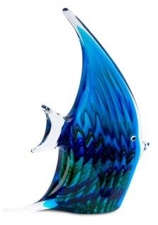 levandeo Glas Skulptur BxHxT 16x21x4cm Glasfigur Fisch Glaskunst Blau Maritim - Vorschau 3