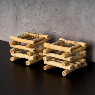 2er Set Teelichthalter Treibholz 15 x 15 cm Holz Glaseinsatz Kerzenhalter - Vorschau 4