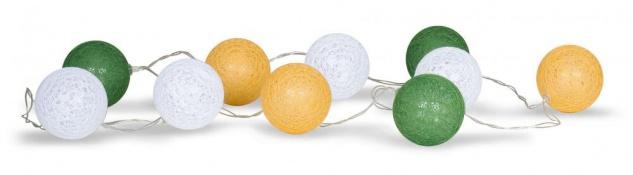 10er Lichterkette LED Kugeln Lampions Baumwolle Grün Gelb Weiß Cotton Warmweiß