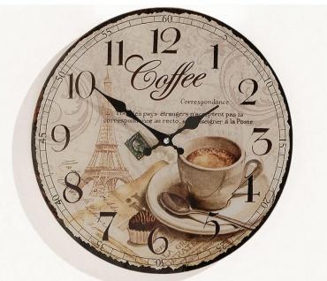 Wanduhr Holzuhr Coffee Kaffee Cafe Espresso Cappuccino Uhr Holz Holzdeko