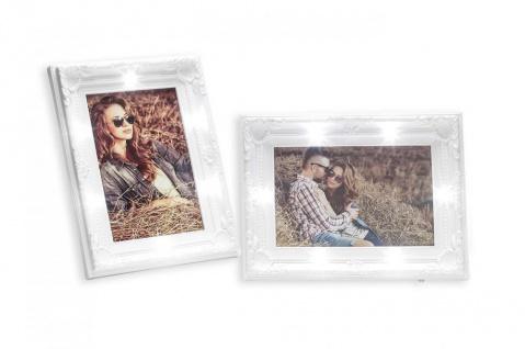 2er Set Bilderrahmen 10x15 LED 20x14, 5cm Weiß Barock Shabby Chic