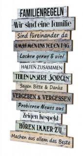 Wandbild 56 x 33 cm Familienregeln Holzschild Shabby Chic Vintage Deko Sprüche - Vorschau 1