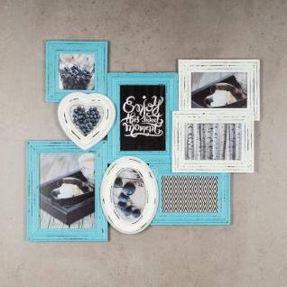 levandeo Bilderrahmen 8 Fotos 60x51cm Shabby Chic Weiß Blau Pastell Collage - Vorschau 2