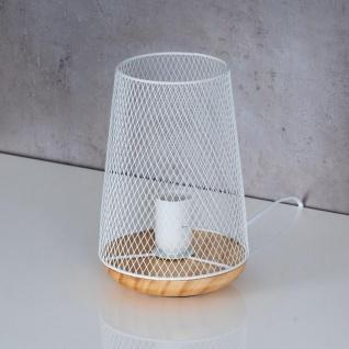 Tischlampe Metall Weiß H22cm Holz Lampe Standleuchte Leuchte Deko Tischdeko - Vorschau 2