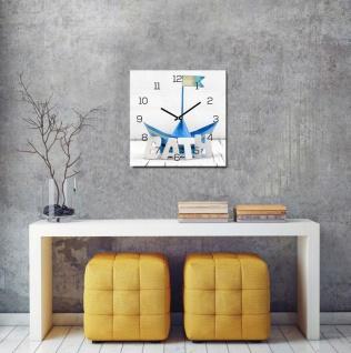 levandeo Wanduhr Glas 30x30cm Glasuhr Uhr Glasbild Bath Bad Maritim Blau Boot - Vorschau 2