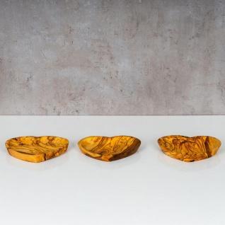 Holzschale Olivenholz ca. 22x21cm Herz Schale Holz Tischdeko Dekoschale Unikat - Vorschau 2
