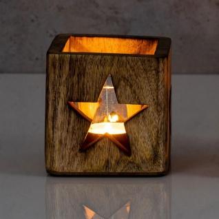 2er Set Windlicht Stern Herz 9cm Mangoholz Teelicht Teelichthalter Kerze Glas - Vorschau 4