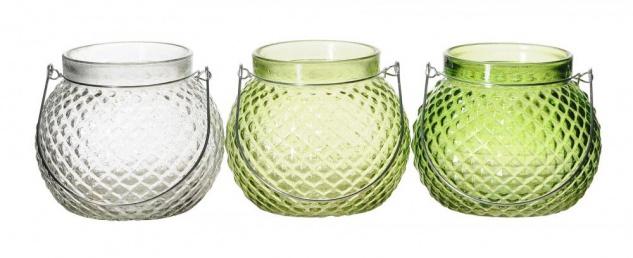 3er Set Windlicht Glas 12x10cm Grün Transparent Deko Teelichthalter Tischdeko