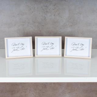 3er Set Bilderrahmen 13x18cm Eiche Natur Echtholz Fotorahmen Einzelrahmen Weiß