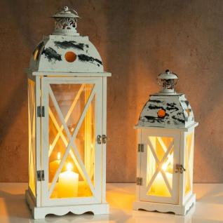 2tlg. Laternen Set Holz weiß Metall Glas Shabby Chic 42cm & 60cm 2er - Vorschau 5