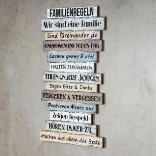 Wandbild 56 x 33 cm Familienregeln Holzschild Shabby Chic Vintage Deko Sprüche - Vorschau 4