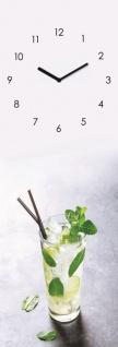Wanduhr Glas 20x60cm Cocktail Limette Glasuhr Uhr Glasbild Küche Bar Deko