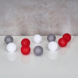 10er Lichterkette LED Ø6cm Kugeln Girlande Lampions Baumwolle Rot Grau Weiß Deko - Vorschau 2