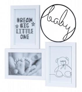 Bilderrahmen 29x31cm 3 Fotos 10x15 Baby Holz Weiß Metall Fotorahmen Collage