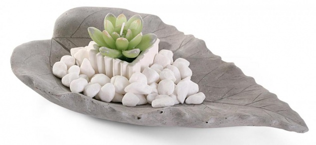 Dekoschale Blatt 30x20cm Grau Kerze Steine Beton Zement Tischdeko Set