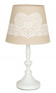 Tischlampe Weiß 38cm hoch Metall Vintage Shabby Lampe Deko Licht