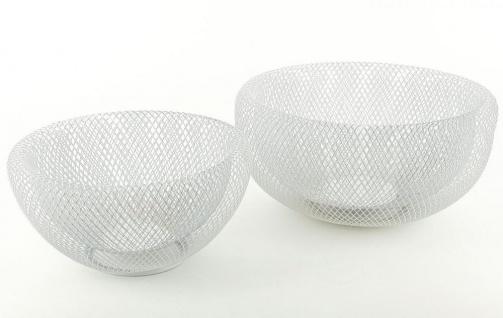 2tlg. Schalenset Metall 3D weiß 24cm & 28cm rund Schüssel Dekoschüssel