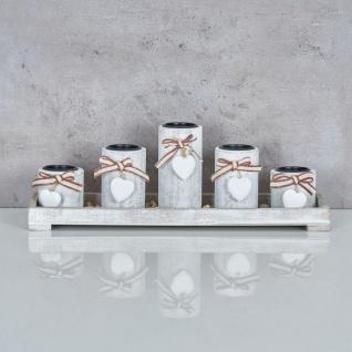 Teelichthalter Set Tablett 39x15x12cm Holz Shabby Chic Vintage Windlicht Deko - Vorschau 2