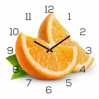 levandeo Wanduhr Glas 30x30cm Glasuhr Uhr Glasbild Frucht Küchenuhr Orange Deko