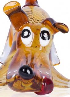Designer Glas Skulptur 16x20x30cm Hund Glasfigur Deko Unikat - Vorschau 4