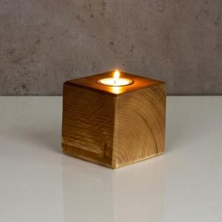 levandeo Teelichthalter Holz Massiv 10x10cm Eiche Farbig Kerzenständer Rustikal - Vorschau 3