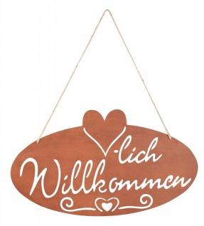 Schild Willkommen Herz 40x22, 5cm Garten-Deko Türschild Edelrost Wandbild