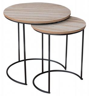 2er Set Beistelltische Metall Schwarz Holz Rund Couchtisch Industrial Sofatisch