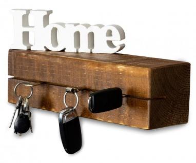 levandeo Schlüsselbrett Holz Massiv 35x10cm Nussbaum lackiert Schlüsselleiste