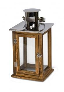 2er Set Holzlaternen Windlichter Hochwertig Holz Metall Glas braun - Vorschau 4