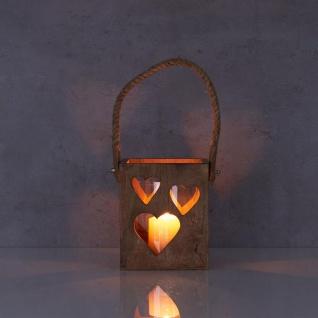 Windlicht Herz 15x18x15cm Braun Mangoholz Laterne Glas Teelichthalter Kerze Tau - Vorschau 5