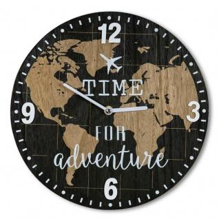 Wanduhr 30x30cm Uhr Holz Braun Küchenuhr Weltkarte Wanddeko Deko Zahlen Map