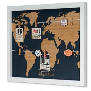 Memoboard Travel 50x40 Fotoleine Wandbild Holz Weltkarte Collage Map Wanddeko
