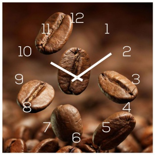 Wanduhr Glas 30x30cm Uhr Glasbild Kaffee Kaffeebohnen Coffee Wanddeko