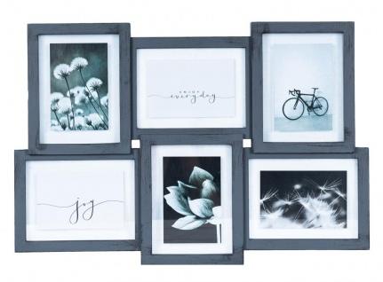 Bilderrahmen Collage 6 Fotos 62x42cm Grau 10x15 Shabby Chic Vintage Deko Glas